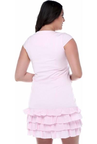 B&S Line Eteği Fırfırlı Boydan Düğmeli Pudra Rengi Elbise