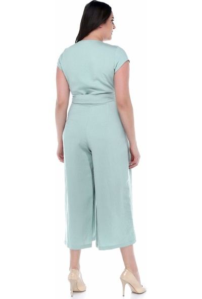 B&S Line Mint Rengi Kuşaklı Kruvaze Tulum Elbise
