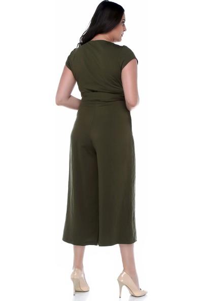 B&S Line Yeşil Rengi Kuşaklı Kruvaze Tulum Elbise