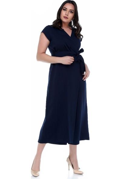 B&S Line Lacivert Rengi Kuşaklı Kruvaze Tulum Elbise