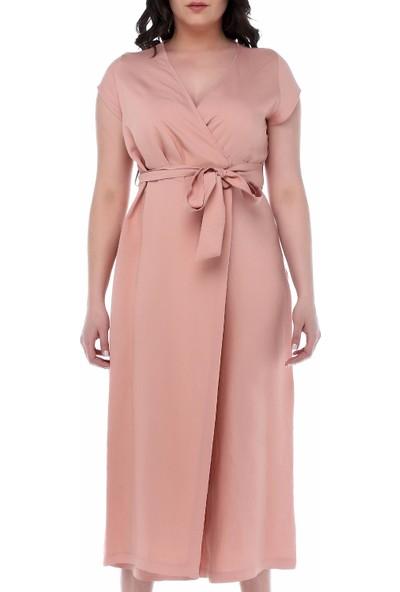 B&S Line Pudra Rengi Kuşaklı Kruvaze Tulum Elbise