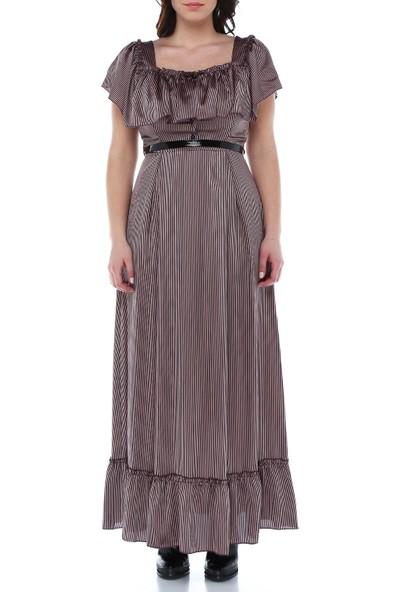 B&S Line Siyah Çizgili Kol Detaylı Uzun Elbise