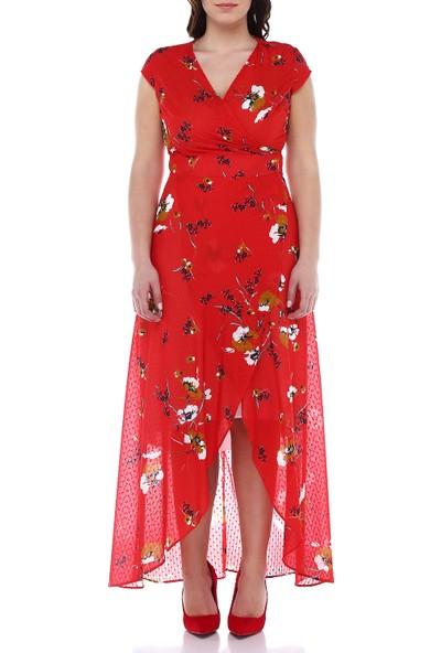 B&S Line Kırmızı Çiçekli Krovaze Kuşaklı Elbise