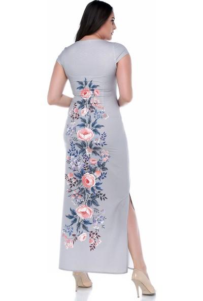 B&S Line Çiçekli Gri Kolsuz Uzun Elbise