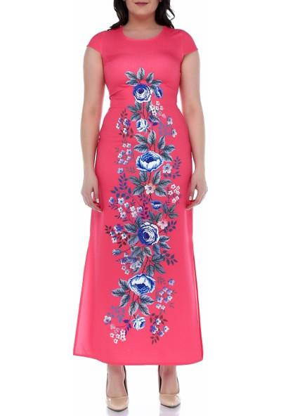 B&S Line Çiçekli Pembe Kolsuz Uzun Elbise