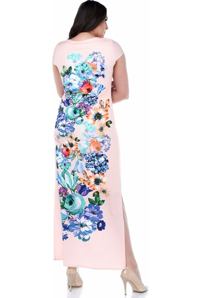 B&S Line Yavruağzı Rengi Kolsuz Çiçekli Pano Elbise