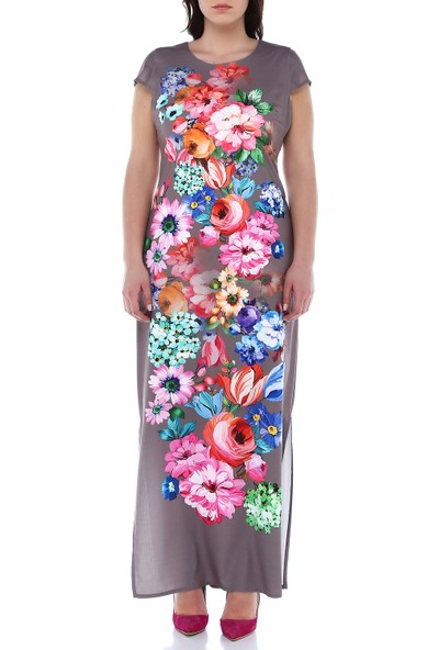 B&S Line Gri Rengi Kolsuz Çiçekli Pano Elbise
