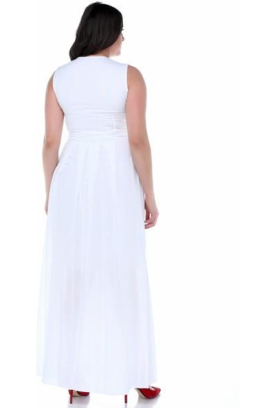 B&S Line Beyaz Kolsuz Çiçekli Kruvaze Kuşaklı Elbise