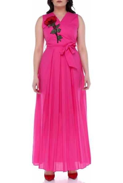 B&S Line Fuşya Kolsuz Çiçekli Kruvaze Kuşaklı Elbise