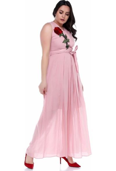 B&S Line Pudra Kolsuz Çiçekli Kruvaze Kuşaklı Elbise