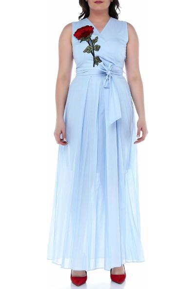B&S Line Mavi Kolsuz Çiçekli Kruvaze Kuşaklı Elbise