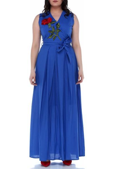 B&S Line Saks Rengi Çiçekli Kruvaze Kuşaklı Elbise