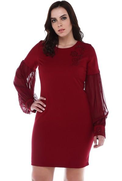 B&S Line Manşeti Ve Yakası Taşlı Kolları Şifon Bordo Elbise
