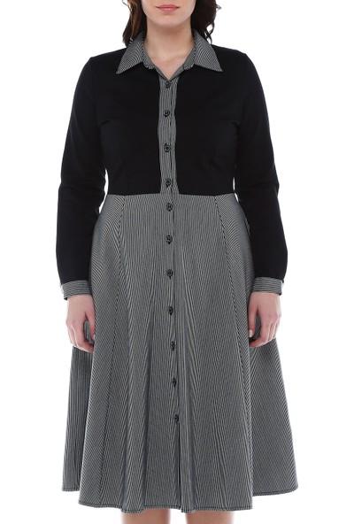 B&S Line Siyah Boydan Düğmeli Eteği Çizgili Elbise