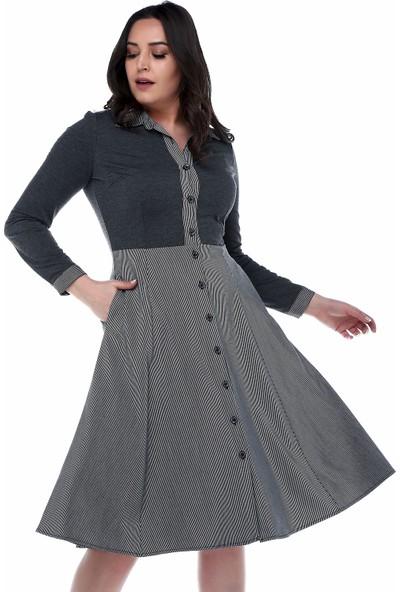 B&S Line Gri Boydan Düğmeli Eteği Çizgili Elbise