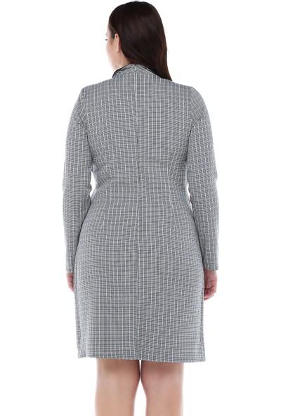 B&S Line Siyah Beyaz Ekoseli İçli Dışlı Elbise