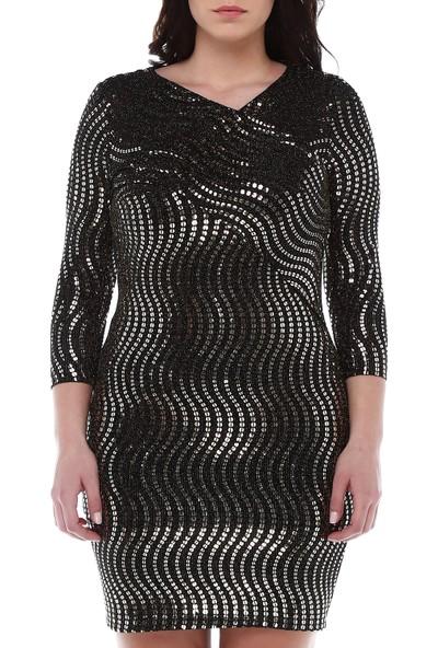 B&S Line Siyah Gold Pullu Elbise