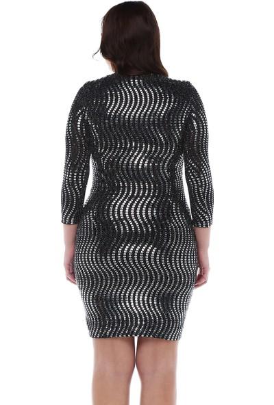 B&S Line Siyah Gümüş Pullu Elbise