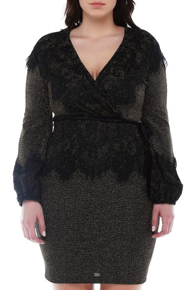B&S Line Siyah Simli Dantelli Elbise