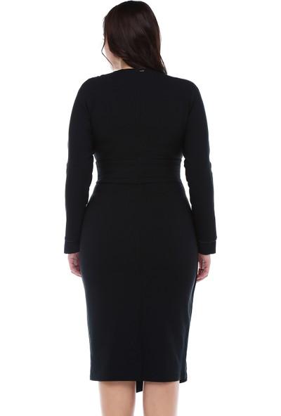 B&S Line Siyah Beli Katlı Anvelop Elbise