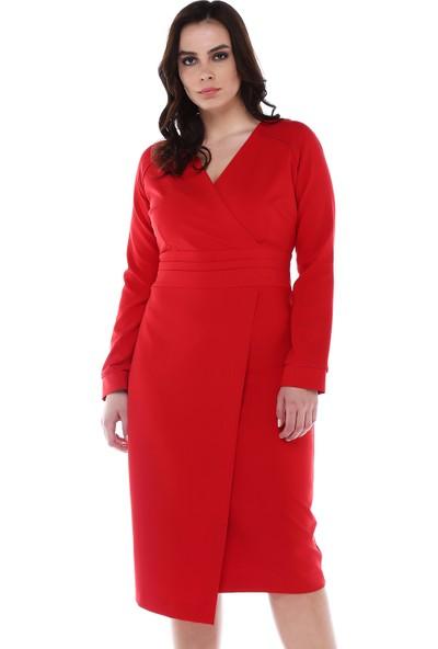 B&S Line Kırmızı Beli Katlı Anvelop Elbise