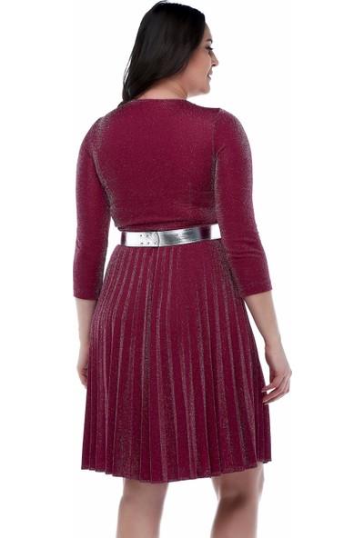 B&S Line Mürdüm Rengi Eteği Pliseli Kemerli Elbise