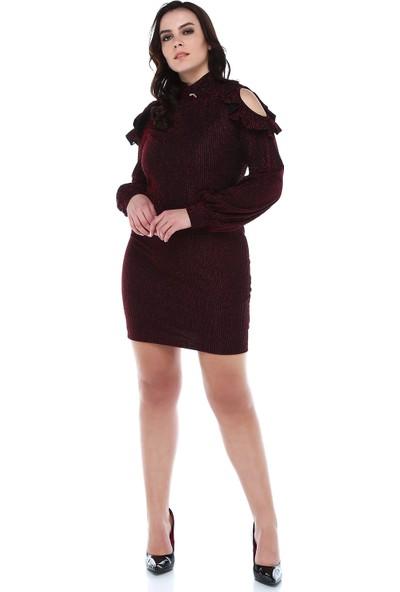 B&S Line Kırmızı Simli Omuz Detaylı Elbise