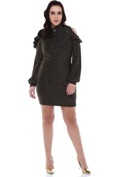 B&S Line Siyah Gold Simli Omuz Detaylı Elbise