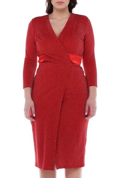 B&S Line Kırmızı Simli Anvelop Kuşaklı Elbise
