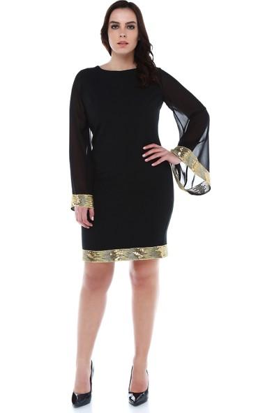 B&S Line Etek Ucu Ve Kol Ucu Gold Pul Detaylı Siyah Elbise
