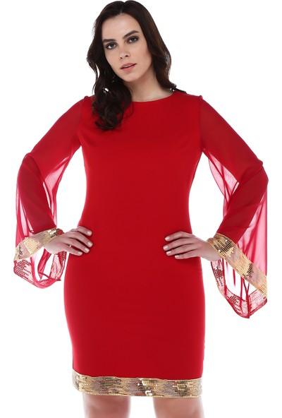 B&S Line Etek Ucu Ve Kol Ucu Gold Pul Detaylı Kirmizi Elbise