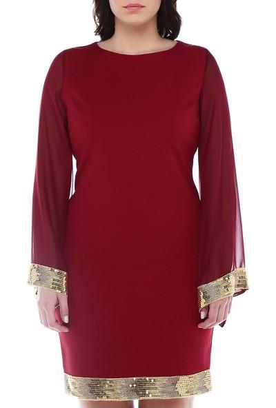 B&S Line Etek Ucu Ve Kol Ucu Gold Pul Detaylı Bordo Elbise