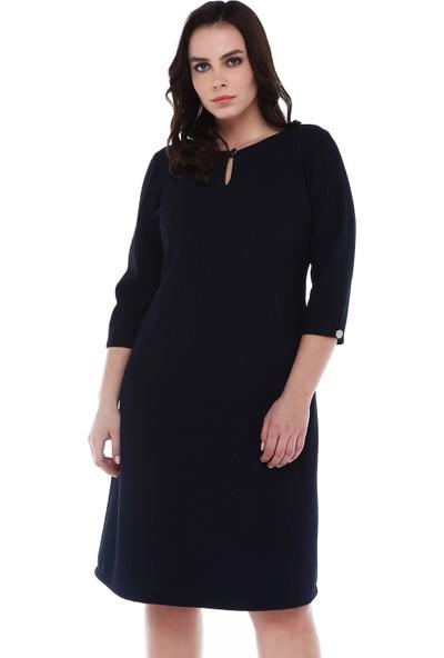 B&S Line Yakası Ve Kolları Düğmeli Lacivert Elbise