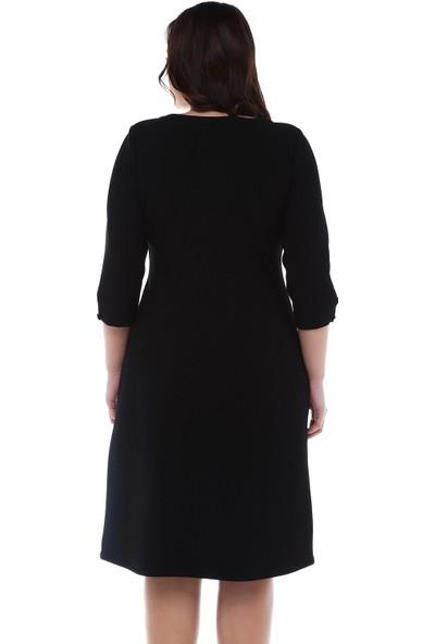 B&S Line Yakası Ve Kolları Düğmeli Siyah Elbise