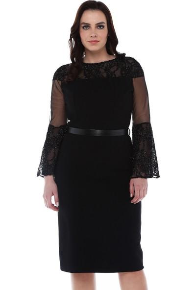 B&S Line Yakası Ve Kolu Simli Dantelli Siyah Elbise