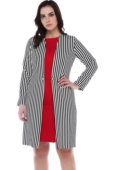 B&S Line Çizgili Kırmızı İçli Dışlı Elbise