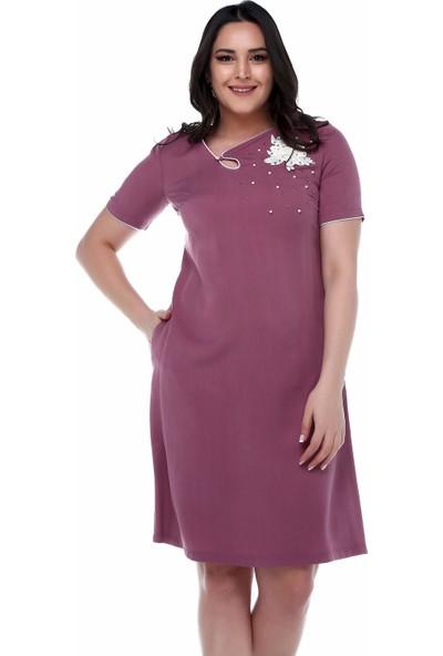 B&S Line Robası Taşlı Çiçekli Kiremit Rengi Elbise
