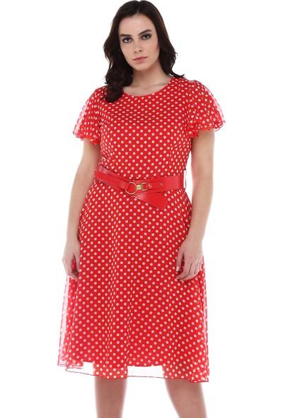 B&S Line Mercan Puanlı Şifon Elbise
