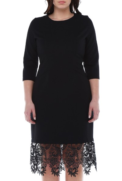 B&S Line Etek Ucu Dantelli Cepli Siyah Elbise