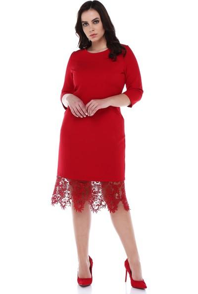 B&S Line Etek Ucu Dantelli Cepli Kırmızı Elbise