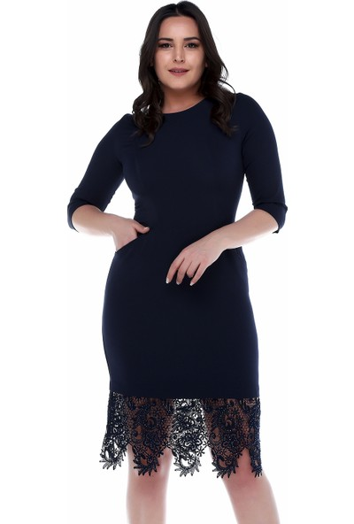 B&S Line Etek Ucu Dantelli Cepli Lacivert Elbise