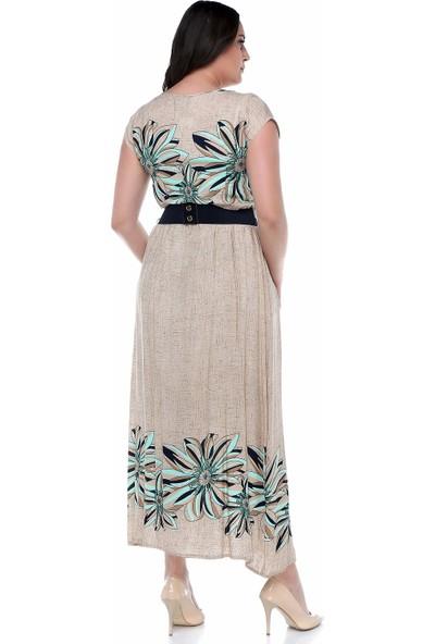 B&S Line Mint Rengi Çiçekli Uzun Elbise