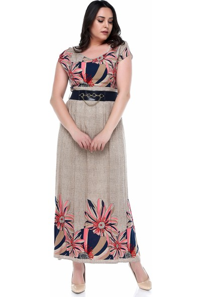 B&S Line Pembe Rengi Çiçekli Uzun Elbise