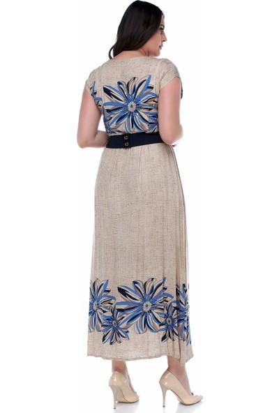 B&S Line Mavi Rengi Çiçekli Uzun Elbise