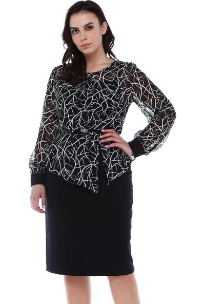B&S Line Leopar Desen Şifon Siyah Elbise