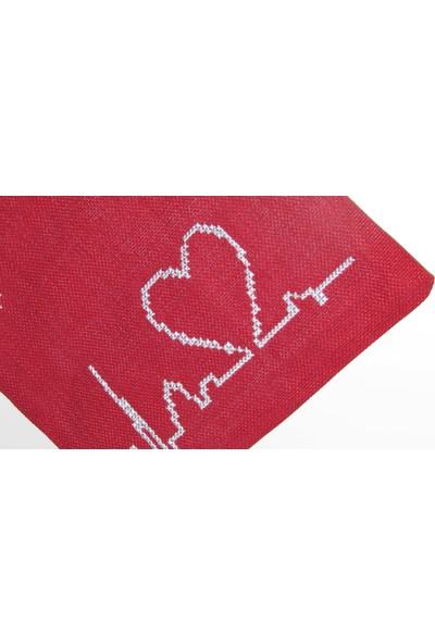 Pafuli El Yapımı Nakış İşlemeli Clutch Çanta Kalp Atışı Kırmızı