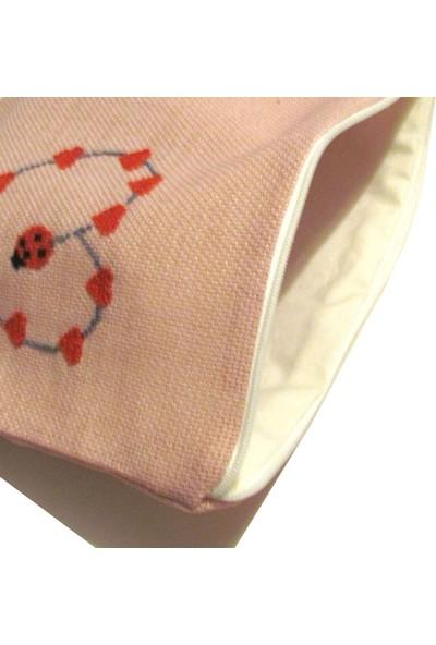 Pafuli El Yapımı Nakış İşlemeli Clutch Çanta Kalpler Pudra Pembe