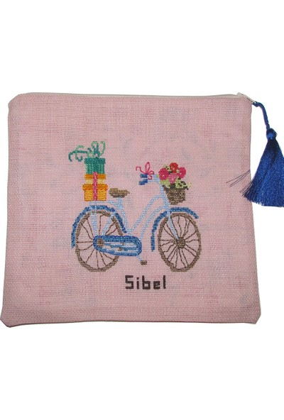 Pafuli El Yapımı Nakış İşlemeli Clutch Çanta Bisiklet Pudra Pembe