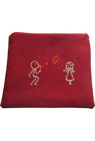 Pafuli El Yapımı Nakış İşlemeli Clutch Çanta Kalp Balonu Kırmızı