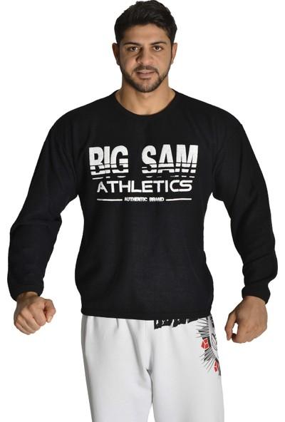 Big Sam Havlu Dokulu Siyah Kışlık Rahat Kesim Sweatshirt 4694